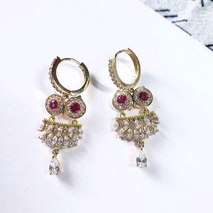 Gold owl crystal dangle hoop earrings